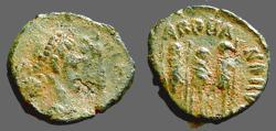 Ancient Coins - Arcadius AE4  Theodosius, Arcadius, Honorius, stg together