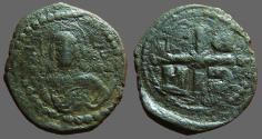 Ancient Coins - Romanus IV AE28 Follis. Bust of Christ facing / ornamented cross