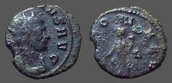 Ancient Coins - Claudius II Gothicus billon antoninianus.  Fortuna w. cornucopia & rudder