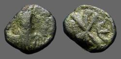 Ancient Coins - Justin I AE Pentanummium, Chi-Rho Christian symbol.  Constantinople.