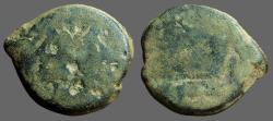 Ancient Coins - Roman Republic AE28 as  Janus bust / Galley Prow