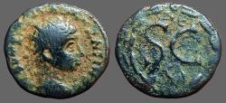 Ancient Coins - Elagabalus AE19 SC within wreath, ΔE above, Eagle below