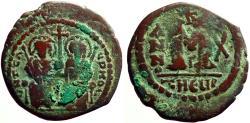 Ancient Coins - Justin II & Sophia AE28 Follis.  Antioch.  year 10
