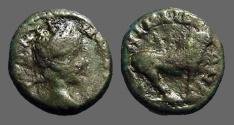 Ancient Coins - Caracalla AE16 Bull stg rt.  Nicopolis ad Istrum