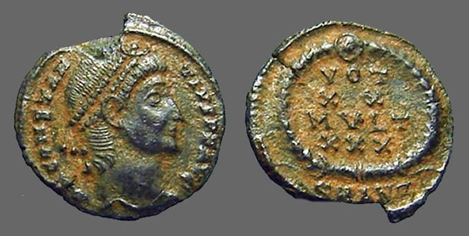 Ancient Coins - Constantius II AE4 Vows in wreath, VOT/XX/MVLT/XXX.  Antioch, Turkey.