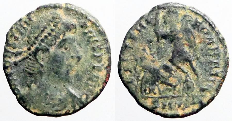 Ancient Coins - Constantius II AE3 soldier spearing fallen horseman left. Siscia