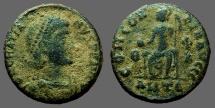 Ancient Coins - Gratian AE3 Roma seated w. globe & Spear Antioch.