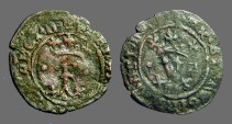 Ancient Coins - Fernando V & Isabella, 20mm billon Blanca.  1474-1504 AD.