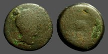 Ancient Coins - Spain, Celsa AE32  Male hd rt / Horseman Galloping