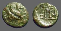 Ancient Coins - Skepsis, Troas. AE11 forepart Pegasos rt / Palm tree in linear square.