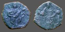Ancient Coins - Alexius I, Comnenus AE16 tetarteron Christ stg / Alexius stg