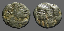 Ancient Coins - Barbaric AE4 of Leo I - Zeno period.  Emperor stg. hand on captive.  Victory holds wreath over emp.
