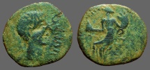 Spain, Irippo. AE25 Male hd rt.  / Woman seated w. pine cone & cornucopia