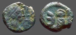 Ancient Coins - Justin I AE10 pentanummium, Tyche on Antioch seated in shrine