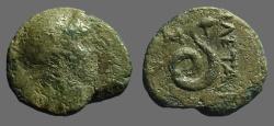 Ancient Coins - Mysia, Pergamon AE13 Athena w. gryphon helmet / Coiled Serpent
