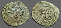 World Coins - Fernando II of Navarra billon dinero. Crowned 'F' / Short Cross   1513-1516 AD