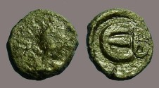 Ancient Coins - Justin I AE Pentanummium 'E' w. B officiana.  Constantinople