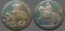 World Coins - Great Britain Coventry AE28 half penny.  Lady Godiva / Castle on Elephant