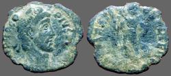 Ancient Coins - Procopius AE3 (16x14mm) Emperor w. standard & Shield.  Con