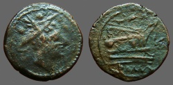 Ancient Coins - Roman Republic anonymous AE19 Sextans.  Mercury / Galley Prow
