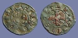 World Coins - Alfonso I 17mm billon denaro. bust left / Cross w. stars.
