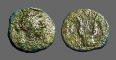 Ancient Coins - Seleucia & Pieria AE11 Antioch on Orontes, bust of Apollo / Lyre.