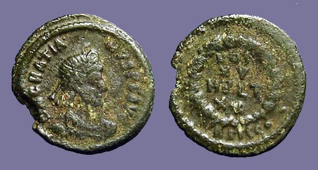 Ancient Coins - Gratian AE4 Vows in wreath.  VOT/XV/MVLT/XX.  Siscia