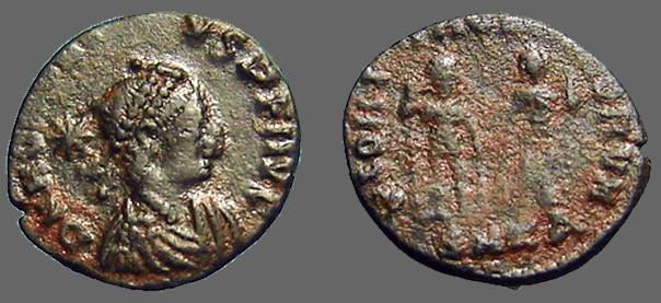 Ancient Coins - Honorius AE3 Honorius & Arcadius hold globe between them