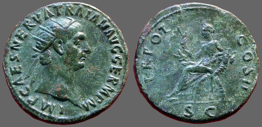 Ancient Coins - Trajan AE27 Dupondius.  Abundantia