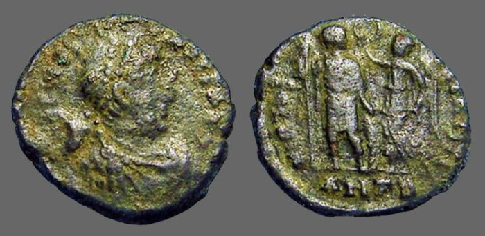 Ancient Coins - Arcadius AE3 (17mm) Victory holds wreath over Arcadius.  Antioch.