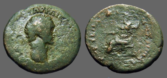 Ancient Coins - Domitian AE25 Zeus seated left.  Syria