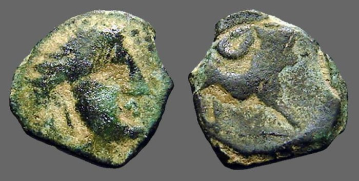 Ancient Coins - Spain, Castulo AE15 Semis Male bust / bull w. crescent above