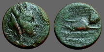 Ancient Coins - Cilicia, Hierapolis.  AE20 Tyche / River God Pyramos swimming