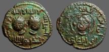 Ancient Coins -  Artuqids of Mardin AE32 Dirham.  2 Male Heads Facing / Head w. curly hair