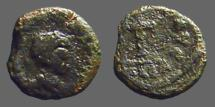 Ancient Coins - Very late Roman AE4 (10mm) Bust rt / Cross, legend around.  Constantinople