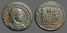 Ancient Coins - Constantine II AE3, 2 soldiers, 2 standards.  Antioch, Turkey.