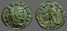 Ancient Coins - Constantius I Chlorus AE19 1/4 Follis, Genius sacraficing.  Siscia