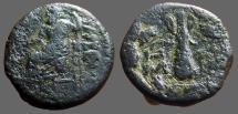 Ancient Coins - Cilicia, Tarsos. AE18  Zeus holding Nike / Club  within oak wreath