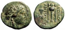 Ancient Coins - Antiochos II Theos AE18 Apollo / Tripod Altar. Sardes.