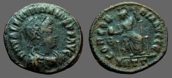 Ancient Coins - Valentinian II AE3 Constantinopolis seated w. globe & spear.   Antioch.