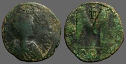 Ancient Coins - Justin I AE30 Follis.  Constantinople.  cross