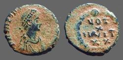 Ancient Coins - Theodosius I AE4 Vow in wreath.  Antioch, Turkey