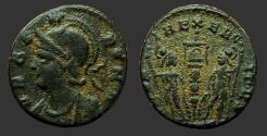 Ancient Coins - Constantine era AE3 VRBS ROMA / GLORIA.EXERCITVS  die muling