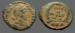 Ancient Coins - Theodosius I AE4 Vows in wreath.  VOTOT/X/MVLT/XX.  Antioch