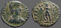 Ancient Coins - Constantius II AE3 Soldier holding globe and spear