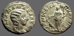 Ancient Coins -  Julia Mamaea AR Denarius Juno w. peacock
