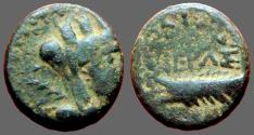 Ancient Coins - Phoenicia, Sidon. AE17 turreted  & veiled Tyche /  Galley