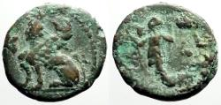 Ancient Coins - Pamphylia, Perge AE18 Sphinx / Artemis w. wreath & scepter.