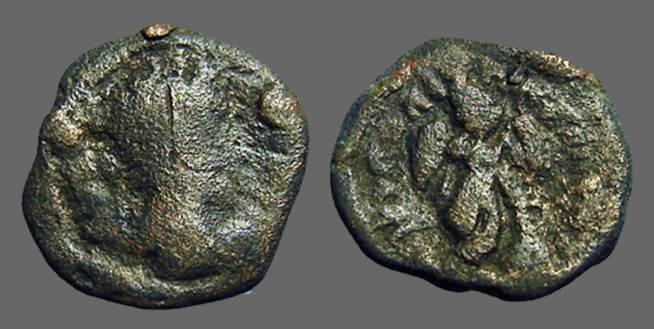 Ancient Coins - Septimius Severus AE17 Nicopolis ad Istrum.  Thanatos leaning on staff