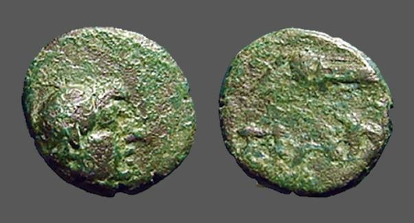 Ancient Coins - Pantikapaion. Tauric Chersonessos. AE12  Male Hd. / Bow in quiver PAN